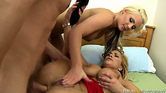 Two gorgeous blondes have got all their holes open for each other and their BF