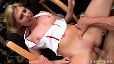 Through every fiber of her hot body runs a stream of pleasure as her cunt is being drilled