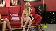 Casting sexy blonde babe Whitney as she talks and gets naked