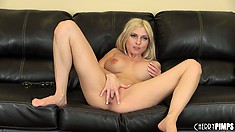 Busty blonde babe Christie Stevens toys and fingers her cunt