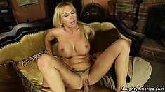 Brooke gobbles more cock and rides in both cowgirl positions