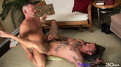 He's bent over getting nailed and sits before lying down to take it