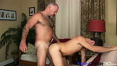 Young twinky boy gets his tight gay ass hammered by a furry bear
