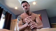 Master masseur knows exactly how to work that rigid muscle cuz he has one of his own