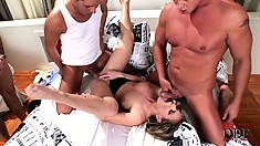 She's got four cocks she's handling and gets every hole nailed and a bunch of cum