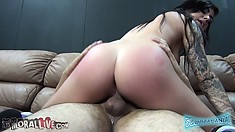 Karmen's marvelous ass sensually shakes as she rides that cock with great desire