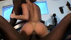 Her petite white body loves the taste and feel of big black cocks