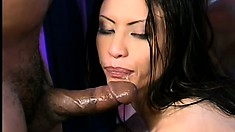 Her screams of pleasure fill the room as they drill her sweet holes at the same time