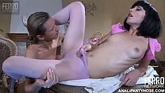 Naughty cutie gets her petite pussy eaten through her leggings