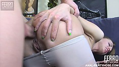Rosa and Bertram play with her nylons and then start drilling ass