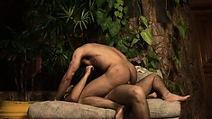Horny bears get some honey from each other out in the dark woods