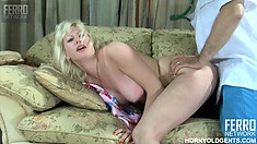 Natali and Frank get right down to business as they fuck on the couch