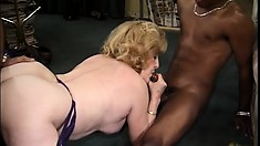 Busty, chubby granny gets her groove on in a threesome of hardcore pounding