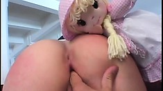 Chubby as hell blonde teen gets her tight fuckholes packed deep