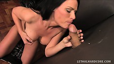 Sexy Brunette Ashli Ames in a church glory hole sucking out holy cum
