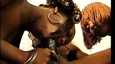 These two juicy black skanks get some luv from Tony Eveready
