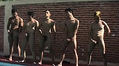 After swim practice the team had a gay orgy and they jacked off together