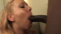 Sexy blonde with lovely tits Julie Knight takes a huge black cock deep in her ass