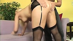 Horny cock sucking blonde shows hot ass, fingers and gets royally fucked