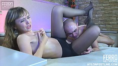 Slim young blonde Aubrey has her boyfriend pounding her tight cunt deep doggy style