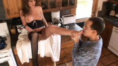 Hot redhead gets her feet and cunt licked and gives him great head