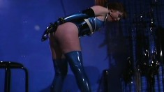 Pretty redhead gets tied up and gagged by her mistress and hung by her hair