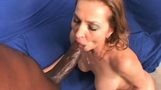 Lovely white babe gets stretched out by a gigantic black cock
