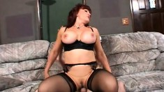 Busty redhead mom seduces her son's friend and has him fucking her twat