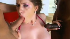 Jennifer Gold deepthroats the dicks of Darren James and Brian Surewood