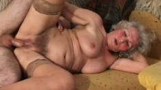 Provocative BBW granny in stockings nails a solid cigar on top