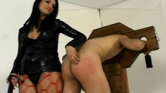 Dirty dominating bitch in red fishnets takes control over hot dong