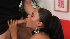 Mixed black babe in lingerie gets her young holes pounded by a biker
