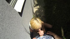 Sensual blonde teen wildly blows and fucks a big shaft in the outdoors