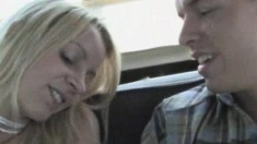 Young Blonde Cutie Enjoys Teasing Her Boyfriend's Cock While On The Plane