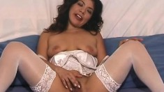 Exciting brunette in white lingerie Fumi shows off her fabulous curves