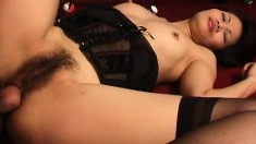 Horny Asian girl Cindy Lee surrenders her fiery holes to a long dick