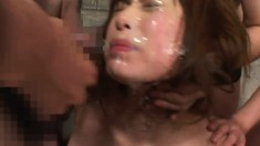 Many Asian girls are getting cum all over their faces in a sick way