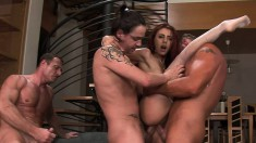 Naughty Redhead Crystal Crown Begs Her Four Lovers To Wreck Her Butt