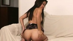 Teana Tsoi pulls her white panties down and sticks a dildo in her cunt