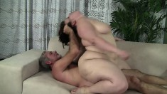 Tubby Cherie gets her fat cunt pumped by an old dude on the couch