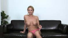 Sexy blonde strips, chews on his prick and fucks, then sucks him dry