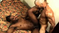 Hot black gay lovers explore their desire for hard anal sex on the bed