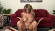 Voluptuous cougar Alyssa has a big cock sliding in and out of her cunt