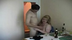 Chubby blonde mom has one of her son's friends banging her aching cunt