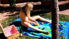 Amanda goes on a picnic by herself and sunbathes in the nude