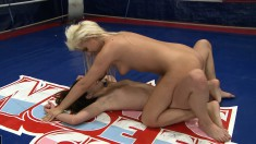 Horny Bibi Noel gets into the wring and wrestles with Amirah Adara