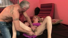 Lovely mature woman has a sex toy and a cock satisfying her desires
