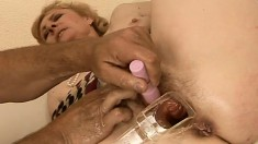 Lovely blonde GILf gets some pussy-working action from a hung stud