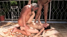 Lucky old dude Albert has two wonderful young babes sharing his cock