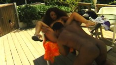Striking ebony teen does everything to a huge black rod under the sun